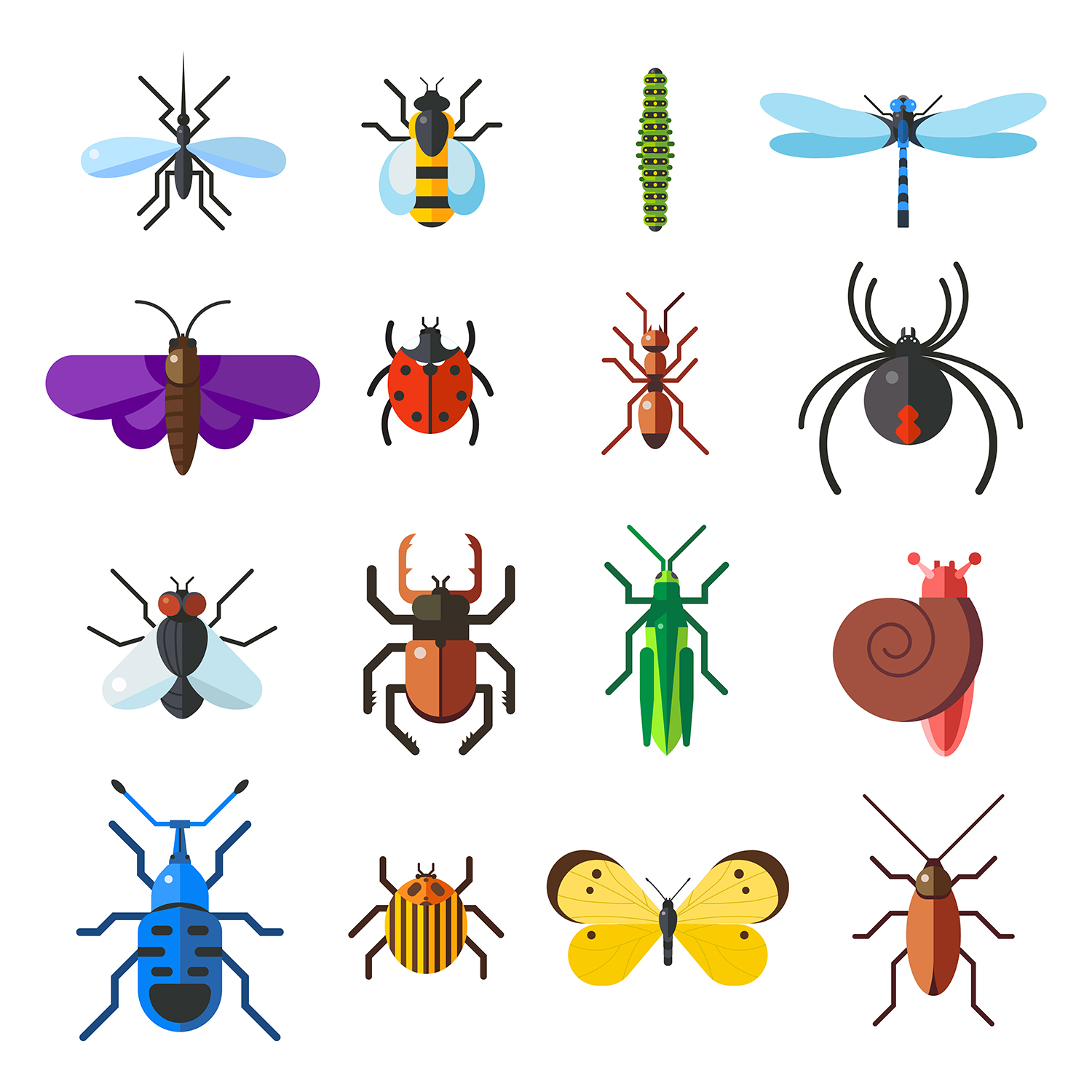 insect-icon-flat-set-isolated-on-white-background